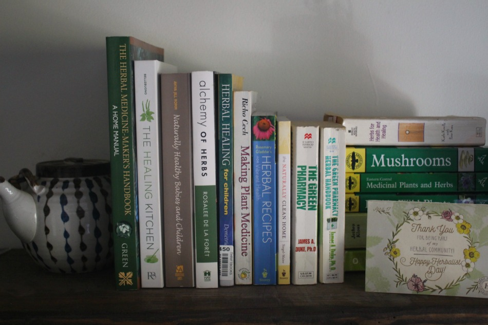 herbal books on shelf
