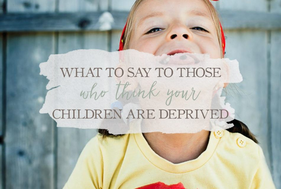What to Say to Those Who Think Your Children Are Deprived