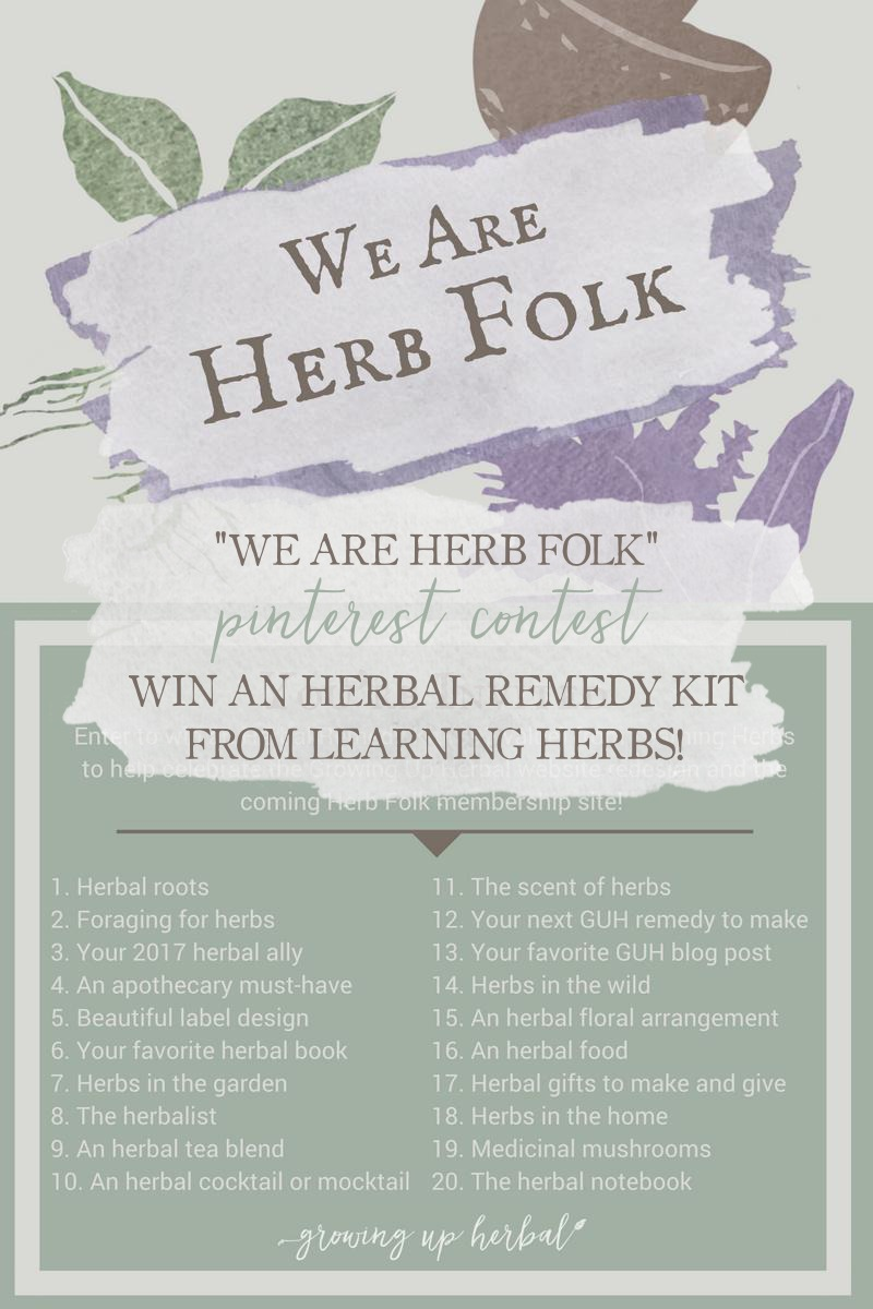 We Are Herb Folk: Enter My First-Ever Contest On Pinterest! | Growing Up Herbal | Join me in this fun Pinterest contest and win an Herbal Remedy Kit from Learning Herbs!