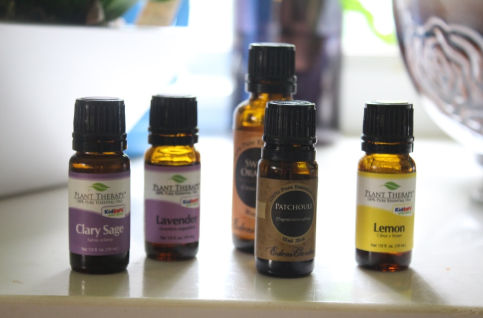 essential oil bottles lined up