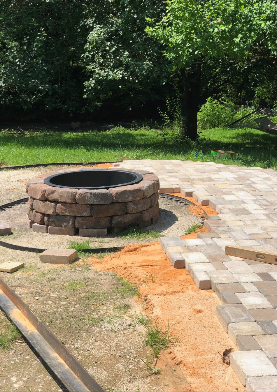 patio and fire pit in progress