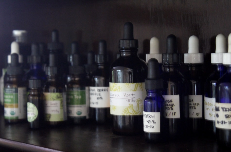 herbal tinctures on shelf